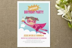 Super Birthday Girl Children's Birthday Party by T... | Minted