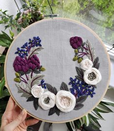 """next week a lot of new new video tutorial and pattern - """"Artichoke and white Embroidery Flowers Pattern, Hand Embroidery Designs, Embroidery Kits, Flower Patterns, Cross Stitch Embroidery, White Embroidery, Embroidery For Beginners, Creations, White Roses"""