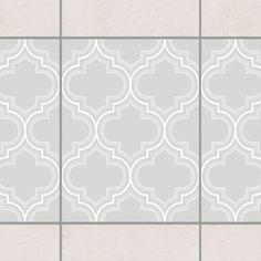 Fliesen Bordüre   Retro Marokko Light Grey 20x15 Cm   Fliesenaufkleber Grau