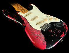 Fender Custom Masterbuilt 69 Stratocaster Relic Guitar Black Over Pink Paisley