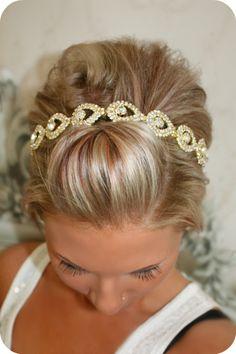 Bridal Hair Piece, GOLD Elsie, Wedding Headband, Ribbon, Wedding Headpiece, Gold, Bridal Accessory on Etsy, $47.95
