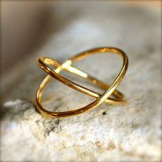 Or Vermeil X anneau en argent Sterling
