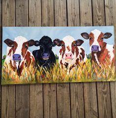 #paigebrownart #etsy Original art / painting 24 x 48 canvas Cow painting / farmhouse decor / farm art / one of a kind / for sale