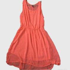H&M Sheer Coral Dress Neon coral sheer tank style dress. The top is definitely sheer and would require a bandeau or tank underneath, the bottom/skirt portion is lined. Shell is 100% polyester, lining is 100% poly H&M Dresses High Low