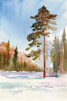 20 ideas for winter landscape painting trees art projects Watercolor Paintings For Beginners, Watercolor Projects, Watercolor Trees, Watercolor Techniques, Watercolor Landscape, Landscape Artwork, Oil Painting Abstract, Painting Trees, Winter Landscape