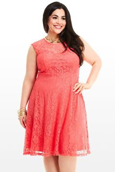 Coral Lace Dress, perfect for warmer weather, pair with a cardi ...