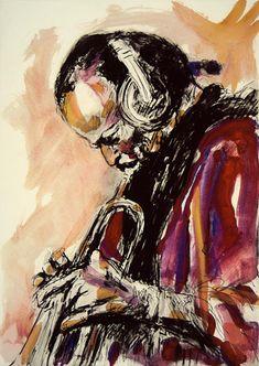 Miles Davis by Ronnie Wood