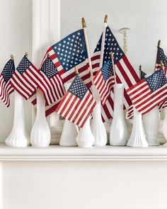 Fourth of July Mantel ~ LeCultivateur Fourth Of July Decor, 4th Of July Celebration, 4th Of July Decorations, 4th Of July Party, 4th Of July Wreath, July 4th, Altar Decorations, Holiday Decorations, Birthday Decorations