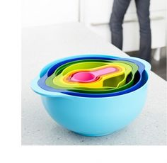 8 Multi-Colored Nesting Bowls by Joseph Joseph - Spark Living - online boutique for unique home decor, gifts and accessories Kitchenware Shop, Shops, Joseph Joseph, Nesting Bowls, Mixing Bowls, Unique Home Decor, Food Preparation, Christmas Shopping, Measuring Cups