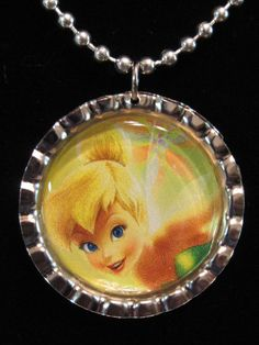 Tinker bell bottle cap necklace $5
