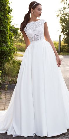Glamorous Tulle & Satin Bateau Neckline See-through Bodice A-line Wedding Dress With Lace Appliques
