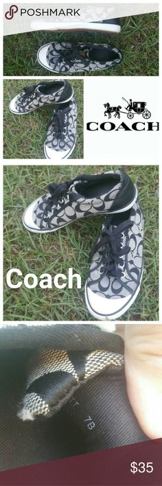 Coach Tennis Shoes Size 7B Black White gray Coach Tennis Shoes Size 7B Black white  gray. These shoes are in very good used condition Coach Shoes Athletic Shoes