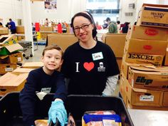 Sara and son at the Food Bank