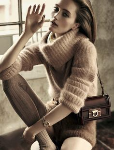 Ermanno Scervino effortless glamour in F/W Angora sweater with matching shorts in D - la Repubblica August issue Thick Sweaters, Wool Sweaters, Sweaters For Women, Fluffy Sweater, Angora Sweater, Gros Pull Mohair, Ermanno Scervino, Sweater Outfits, Sweater Weather