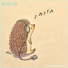 1425 音楽があれば乗り越えられる Music always helps. #illustration #hedgehog #music #イラスト #ハリネズミ #音楽 #なみはりねずみ