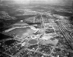 Aerial of Southside Plaza. Intersection of Hull Street and Belt Boulevard. 1950s?