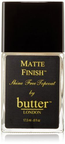 This is really cool. It basically makes any nail polish you have turn to a matte finish. That way you can make cool looks! 'butter', LONDON Matte Finish Shine Free Topcoat   http://www.amazon.com/dp/B002SVITUM/ref=cm_sw_r_pi_dp_53Fzsb0X27WD37DW