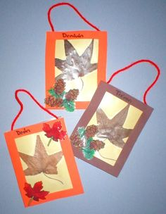 A Leaf In Time - Fall Kids Craft: small leaves, clear contact paper, cardstock, foam frame, fall stickers
