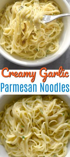 This creamy garlic parmesan noodles recipe is perfect to make on busy weekday nights for the family. Made in under 20 minutes and in one pot, your kids are going to love the cheesy taste and you are going to love the easy cleanup! Cheesy Pasta Recipes, Pasta Recipes For Kids, Kids Pasta, Easy Dinner Recipes, Cooking Recipes, Easy Noodle Recipes, Shrimp Recipes, Salad Recipes, Pasta Side Dishes