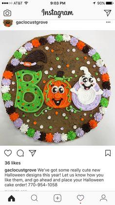 Halloween Sugar Cookies, Halloween Sweets, Halloween Baking, Halloween Food For Party, Cookie Cake Designs, Cookie Cake Decorations, Cookie Cakes, Giant Cookie Cake, Cupcakes
