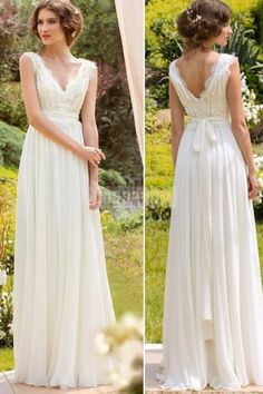 V-neck Chiffon Sleeveless A-line Sash Lace Wedding Dress