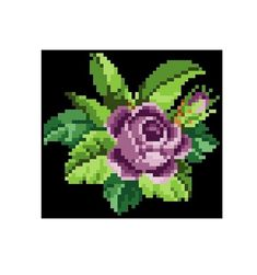 A purple rose. Cross stitch pattern. Instant download.