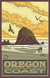 Northwest Art Mall x Poster Haystack Rock Oregon Coast by Paul A. Lanquist - Over Couch trio Voyage Usa, Cannon Beach Oregon, National Park Posters, National Parks, Retro Poster, Poster Vintage, Photo Images, Kunst Poster, Oregon Travel