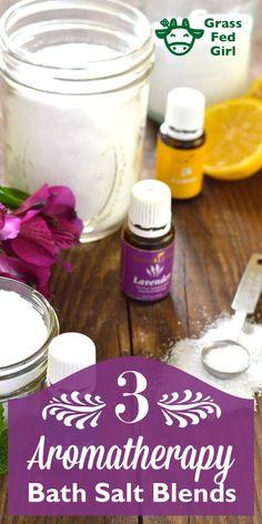 3 Relaxing Epsom Salt Bath Blends | https://www.grassfedgirl.com/3-relaxing-epsom-salt-bath-blends/