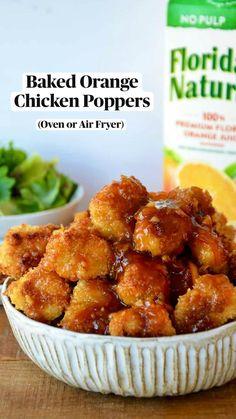 Chicken Poppers, Baked Chicken Nuggets, Chicken Thigh Recipes, Healthy Chicken Recipes, Turkey Recipes, Dinner Entrees, Dinner Recipes, Dinner Ideas, Baked Orange Chicken