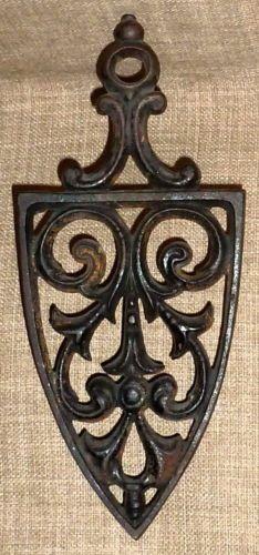 Fancy Vintage 1950s Black Cast Iron Kitchen Trivet Cathedral | eBay