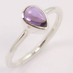 Hot Fashion 925 Sterling Silver Ring Size US 4 Natural AMETHYST Pear Gemstone #Unbranded