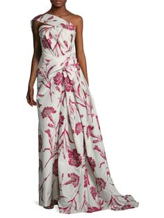 Floral Embroidered Draped Asymmetrical Gown from Carolina Herrera on Gilt