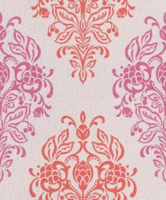 Grand Gala (310302) - Eijffinger Wallpapers - A pretty damask design in a hand printed effect - showing in red and pink on off white. other colour ways available. Please request a sample for true colour match. Paste-the-wall product.