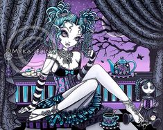 """Shop """"Makayla"""" Gothic Fairy Tea Party Poster created by mykajelina. Personalize it with photos & text or purchase as is! Gothic Angel, Gothic Fairy, Fairy Tea Parties, Tea Party, Moon Fairy, Art Trading Cards, Barbie, Party Poster, Fairy Art"""