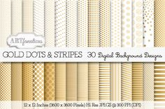 GOLD DOTS & STRIPES by Artfanaticus on Creative Market