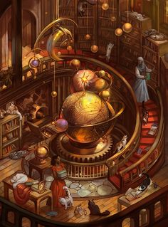Art by Julie Dillon on steampunktendencies.com...cats in your steampunk library...what more could you ask?