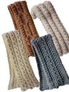 Be right in style with our fashionable cable scarves crochet pattern.   Luscious and unique, these 4 crocheted cable scarves are the perfect crochet accessories to keep you warm this winter. All crochet patterns are made with worsted weight yarn and an I hook. These scarves are a great compliment to Canyon River Hats item number 839919. A PDF download of this pattern is available.