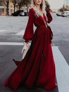 V-Neck Floor-Length Long Sleeve Travel Boho Dresses 0a9c2c8e7