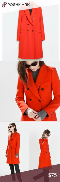 Zara Spice orange color wool coat size XS Pre owned. Actual pictures will be up soon. Zara Jackets & Coats