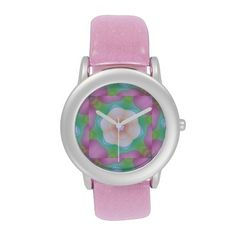 Pretty Flowers and Pink Ribbons Kaleidoscope Wristwatch This pretty floral kaleidoscope design features shades of pink, green, purple and light blue.