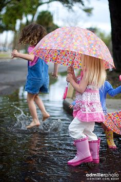 Cute kids walking in the puddle of rain. I Love Rain, No Rain, Walking In The Rain, Singing In The Rain, Rainy Night, Rainy Days, Rain Go Away, Going To Rain, Umbrellas Parasols