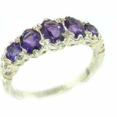 High Quality Solid 14K White Gold Natural Amethyst English Victorian Ring - Finger Sizes 5 to 12 Available - Perfect Gift for Birthday, Christmas, Valentines Day, Mothers Day, Mom, Grandmother, Daughter, Graduation, Bridesmaid. LetsBuyGold. $420.00. Free Shipping. Free Luxury Presentation Box. Genuine Natural Gemstones. Solid Gold. Rare British Hallmark