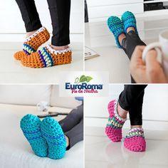 Selecionamos hoje uma dica da EuroRoma para manter os pés quentinhos no Inverno! Estamos falando das pantufas de crochê, feitas com o  Fio ...