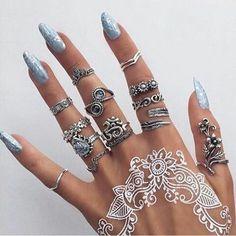 Henna tattoo and gypsy/boho ring set