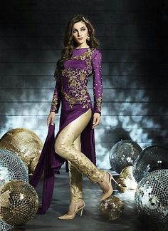Plum Color with Floral Patch Work Straight Cut Style Unstitched Salwar Kameez ,Indian Dresses