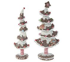 Set of Two Whimsical 10 Gingerbread Trees by Valerie
