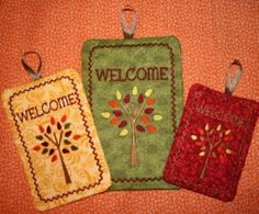 Fall Tree Potholders Machine Embroidery Design by SewingForSarah