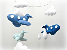 Baby crib mobile - Airplane mobile - blue felt airplanes and white clouds - by LullabyMobiles on madeit $143.00