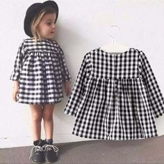 Baby Girl Dress New 2016 Spring Classic Black White Plaid Casual Long Sleeve Dresses For Newborn Girls Clothes Infant DRE003