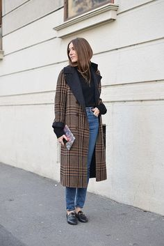 Street Style from Mens Fashion Week Fall 2016  - chic plaid coat + high waisted denim